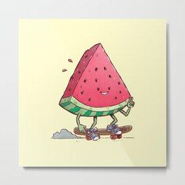 Watermelon Slice Skater Metal Print