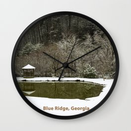 Snow at the Pond Wall Clock