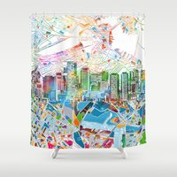 boston map Shower Curtains featuring boston city skyline map by Bekim ART