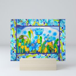 Blue Poppies 1 with Border Mini Art Print