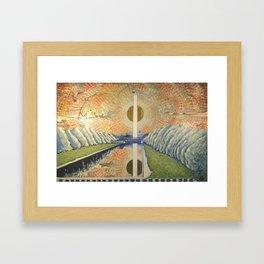 Obelisk, Original contemporary Fine Art American Landscape, 24 x 36 acrylic painting on canvas Framed Art Print