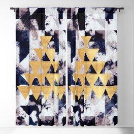 Dark Blue and Gold Delta Geo Blackout Curtain
