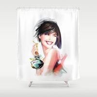 perfume Shower Curtains featuring perfume by tatiana-teni