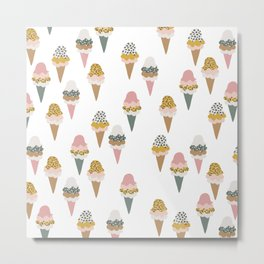 Leopard wild cats ice cream cones summer candy Metal Print