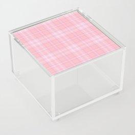 Pink Blush Plaid Pattern Acrylic Box
