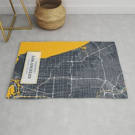 Los Angeles California with GPS Coordinates Rug