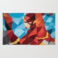 dc comics Area & Throw Rugs featuring DC Comics Flash by Eric Dufresne