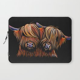 Scottish Highland Cows ' PALS ' by Shirley MacArthur Laptop Sleeve