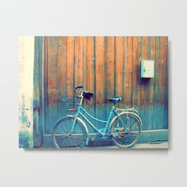 A Polka Dotted Bike Metal Print
