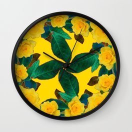 GREEN LEAF ART & YELLOW ROSE FLOWERS  DESIGN Wall Clock