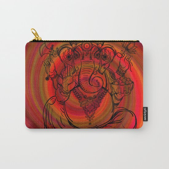 Lord Ganesha on Red Spiral Carry-All Pouch