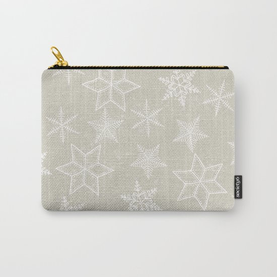 Snowflakes on beige background Carry-All Pouch