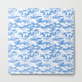 Military Camouflage Pattern - Blue White  Metal Print