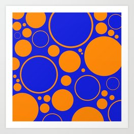 Bubbles And Rings In Orange And Blue Art Print