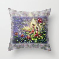 buddha Throw Pillows featuring Buddha  by Harsh Malik