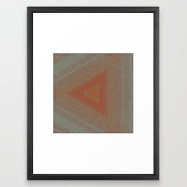 Geode Abstract:  Triangle Nature Pattern in Rust Red and Stone Grey 2 Framed Art Print