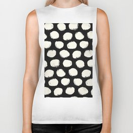 Trendy Cream Polka Dots on Black Biker Tank