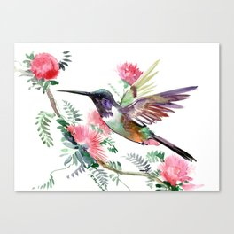 Flying Hummingbird and Red Flowers Canvas Print