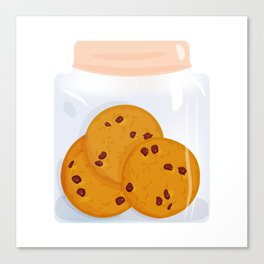 Chocolate chip cookie, homemade biscuit in glass jar Canvas Print