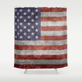 Flag of the United States of America in Retro Grunge Shower Curtain