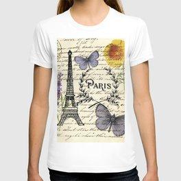 french botanical print purple butterfly lavender floral paris eiffel tower T-shirt