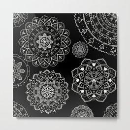 Black and White Mandalas Metal Print