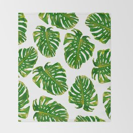 Guatemala - Monstera Deliciosa Jungle Throw Blanket