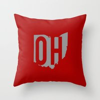 ohio state Throw Pillows featuring Ohio State Pride by Jessica C
