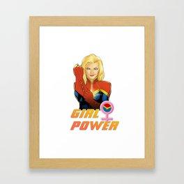 CaptainMarvel - Girl Power Framed Art Print