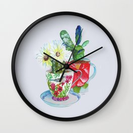 Cacti In Cups Wall Clock