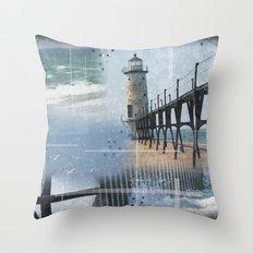 Manistee Lighthouse MI Throw Pillow