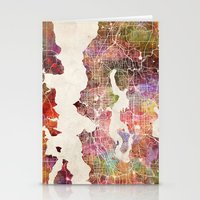 seattle Stationery Cards featuring Seattle by MapMapMaps.Watercolors