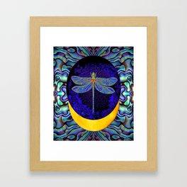 Mystical Midnight- Blue Moon  Gossamer Dragonfly Art  Framed Art Print