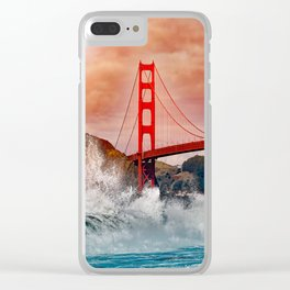 Waves over Red Bridge Clear iPhone Case