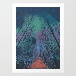 Camp Vibes Screenprint of Tent Under the Stars Art Print