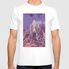Night Mountains No. 6 White Mens Fitted Tee MEDIUM