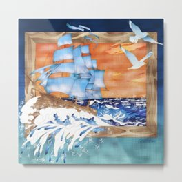 Ship Sails Out of Frame Metal Print