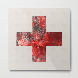 Medic - Abstract Medical Cross In Red And Black Metal Print