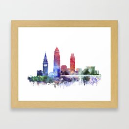 Watercolor Cleveland skyline Framed Art Print