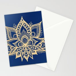 Gold and Blue Lotus Flower Mandala Stationery Cards