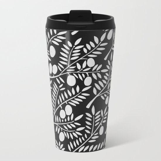White Olive Branches Metal Travel Mug