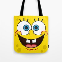 spongebob Tote Bags featuring SpongeBob Face by julien tremeau