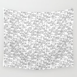 Funny sketchy white kitty cats Wall Tapestry