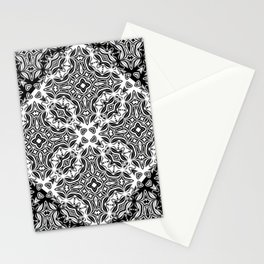 black and white Damascus ornament Stationery Cards