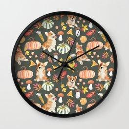 Welsh Corgi Dog Breed Fall Party -Cute Corgis Celebrate Autumn With Pumpkins Mushrooms Leaves - Oliv Green Wall Clock