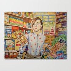 Supermarket vintage, painting, retro Canvas Print