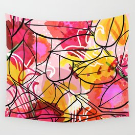 Painted Flowers & leaf Wall Tapestry