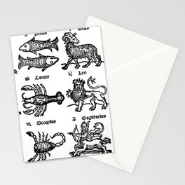 Medieval Zodiac Woodcut (16th century) Stationery Cards
