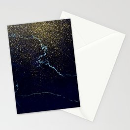 Golden Confetti on Neon Blue Stationery Cards