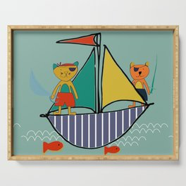 Pirate Boat teal Serving Tray